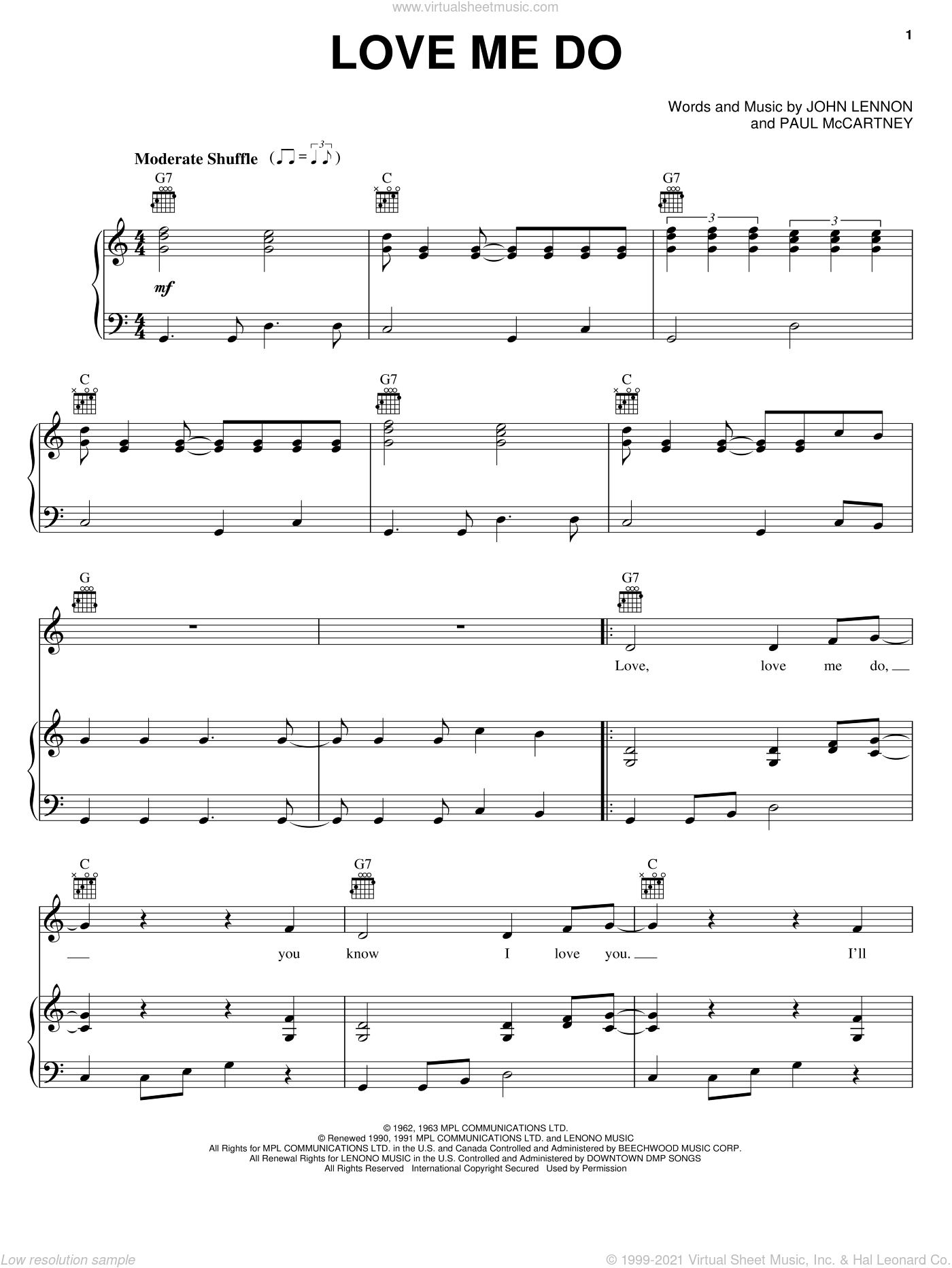 Love Me Do sheet music for voice, piano or guitar by Paul McCartney, The Beatles and John Lennon. Score Image Preview.