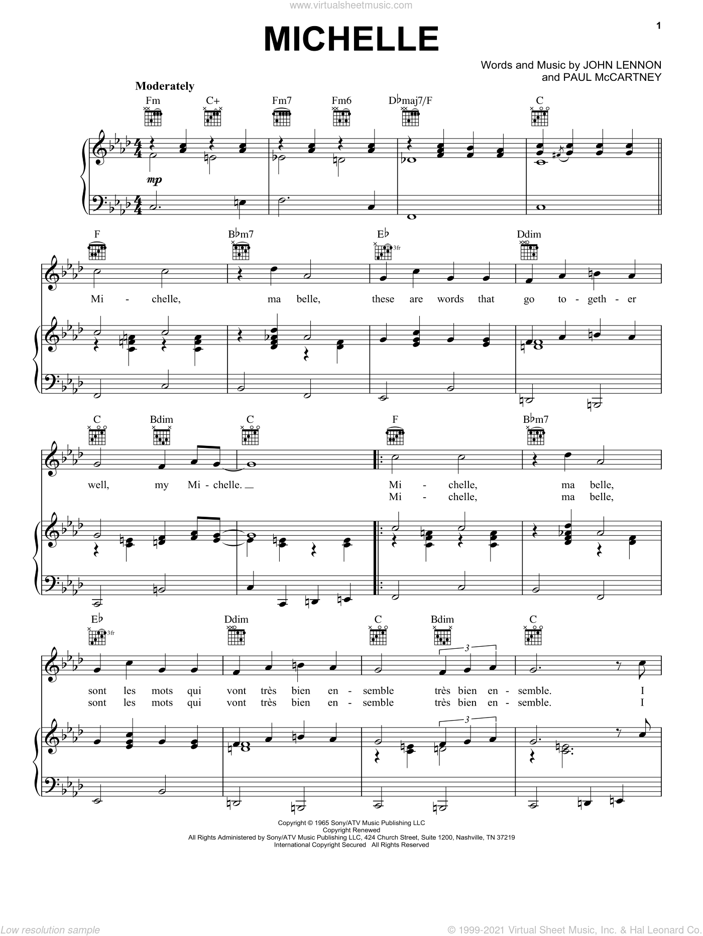 Michelle sheet music for voice, piano or guitar by The Beatles, John Lennon and Paul McCartney, intermediate. Score Image Preview.