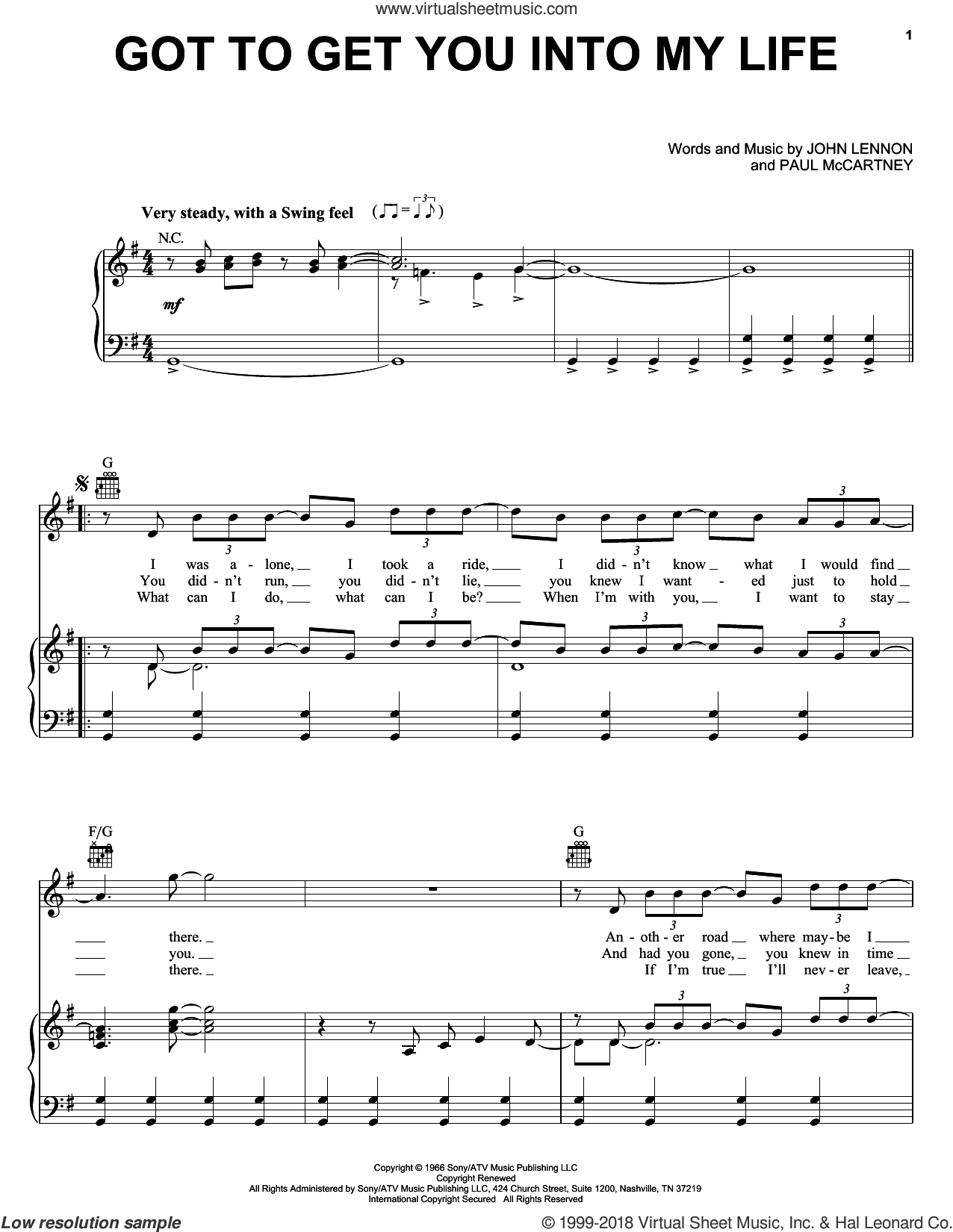 Got To Get You Into My Life sheet music for voice, piano or guitar by The Beatles, John Lennon and Paul McCartney, intermediate skill level