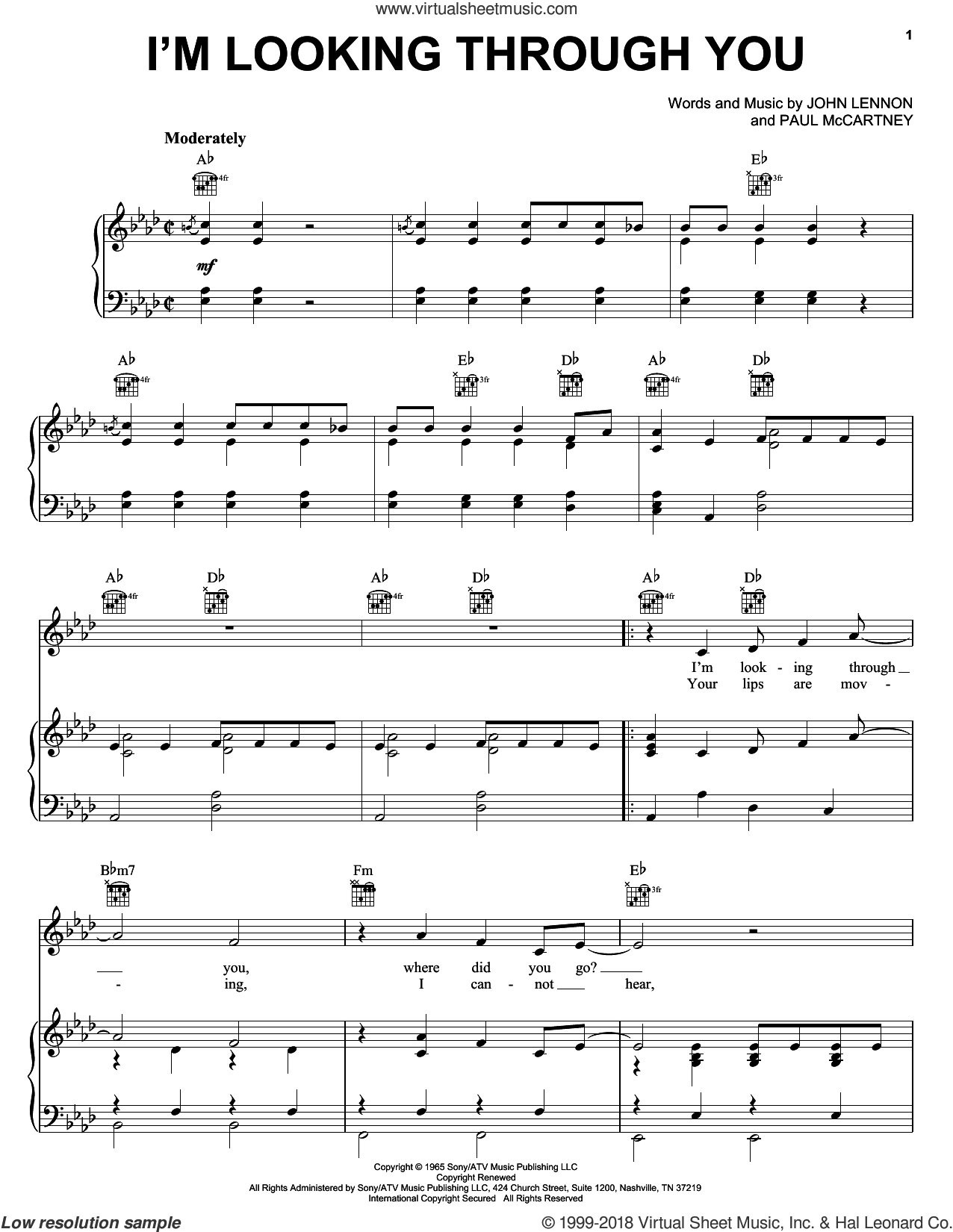 I'm Looking Through You sheet music for voice, piano or guitar by The Beatles, John Lennon and Paul McCartney, intermediate skill level