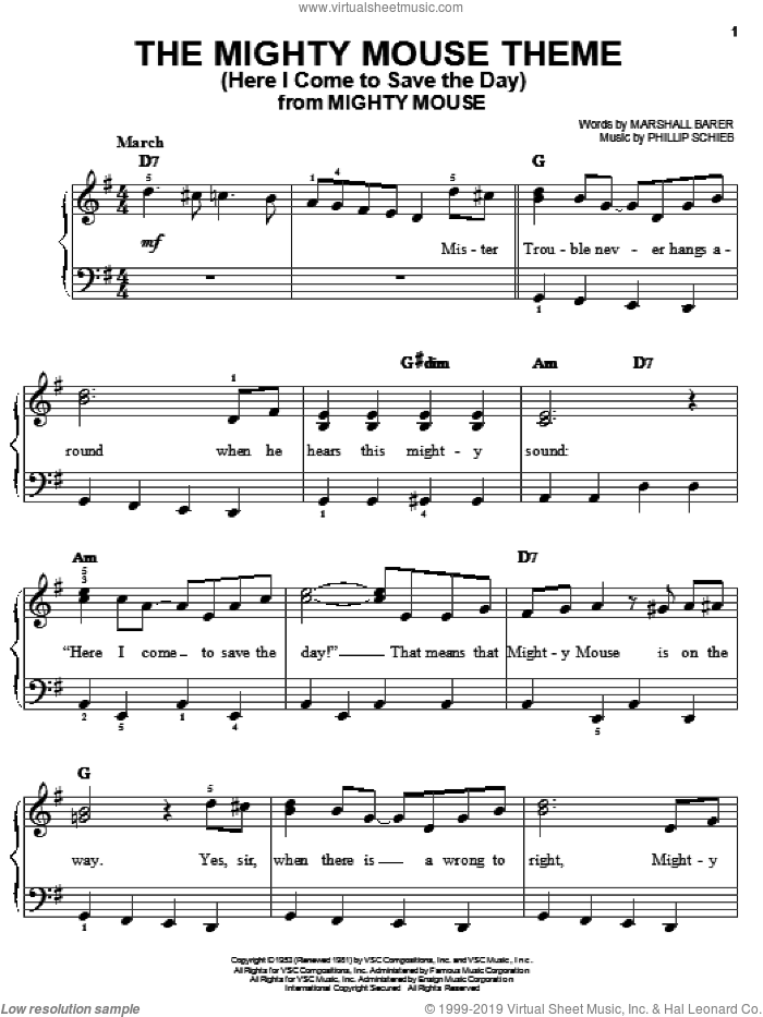 The Mighty Mouse Theme (Here I Come To Save The Day) sheet music for piano solo by Phillip Schieb and Marshall Barer. Score Image Preview.