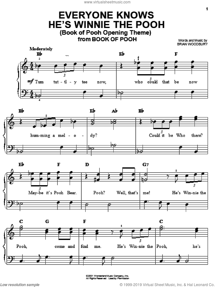 Everyone Knows He's Winnie The Pooh (Book Of Pooh Opening Theme) sheet music for piano solo by Brian Woodbury, easy skill level
