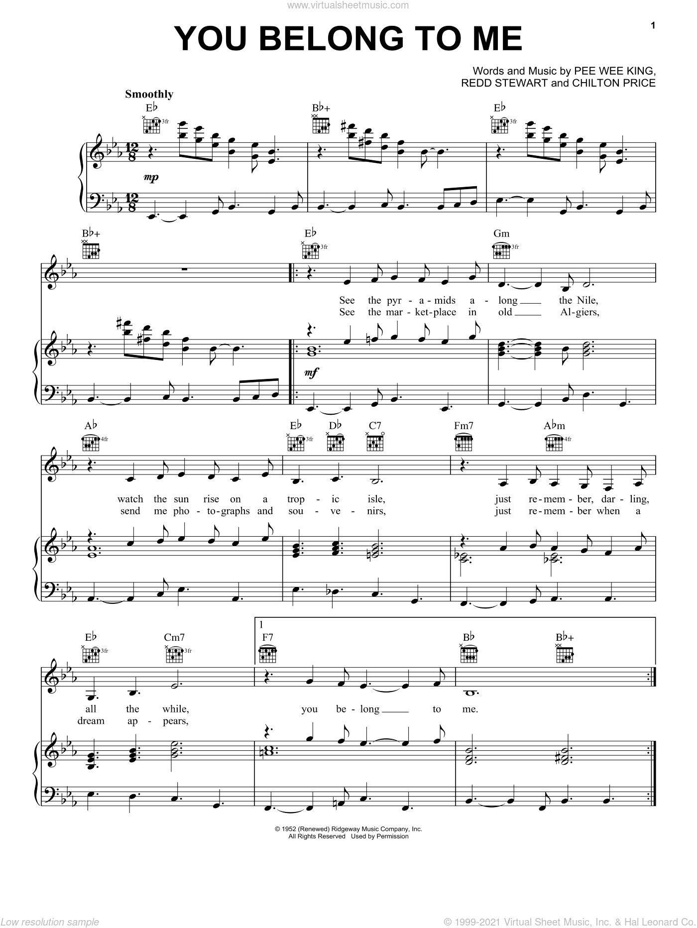 You Belong To Me sheet music for voice, piano or guitar by Patsy Cline, Dean Martin, Duprees, Chilton Price, Pee Wee King and Redd Stewart, intermediate skill level
