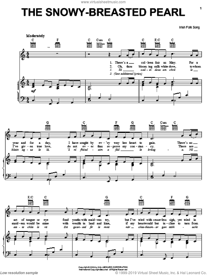 The Snowy-Breasted Pearl sheet music for voice, piano or guitar. Score Image Preview.