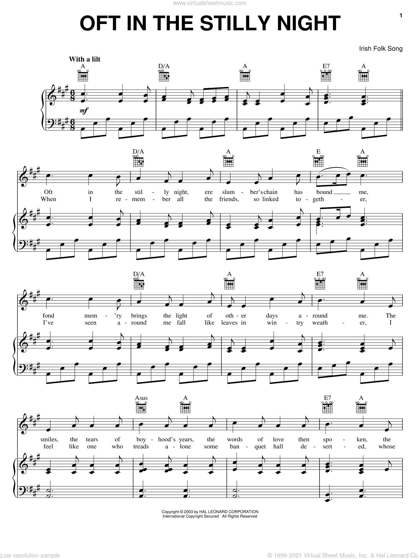 Oft In The Stilly Night sheet music for voice, piano or guitar, intermediate skill level