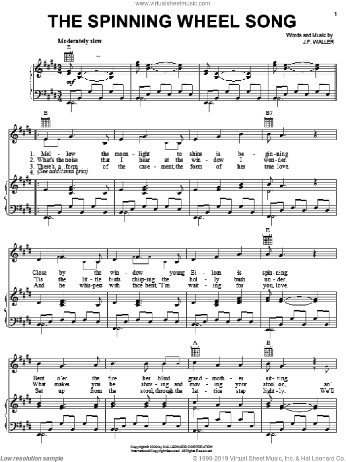 The Spinning Wheel Song sheet music for voice, piano or guitar by John Francis Waller, intermediate skill level