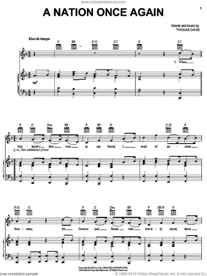 A Nation Once Again sheet music for voice, piano or guitar by Thomas Davis, intermediate. Score Image Preview.
