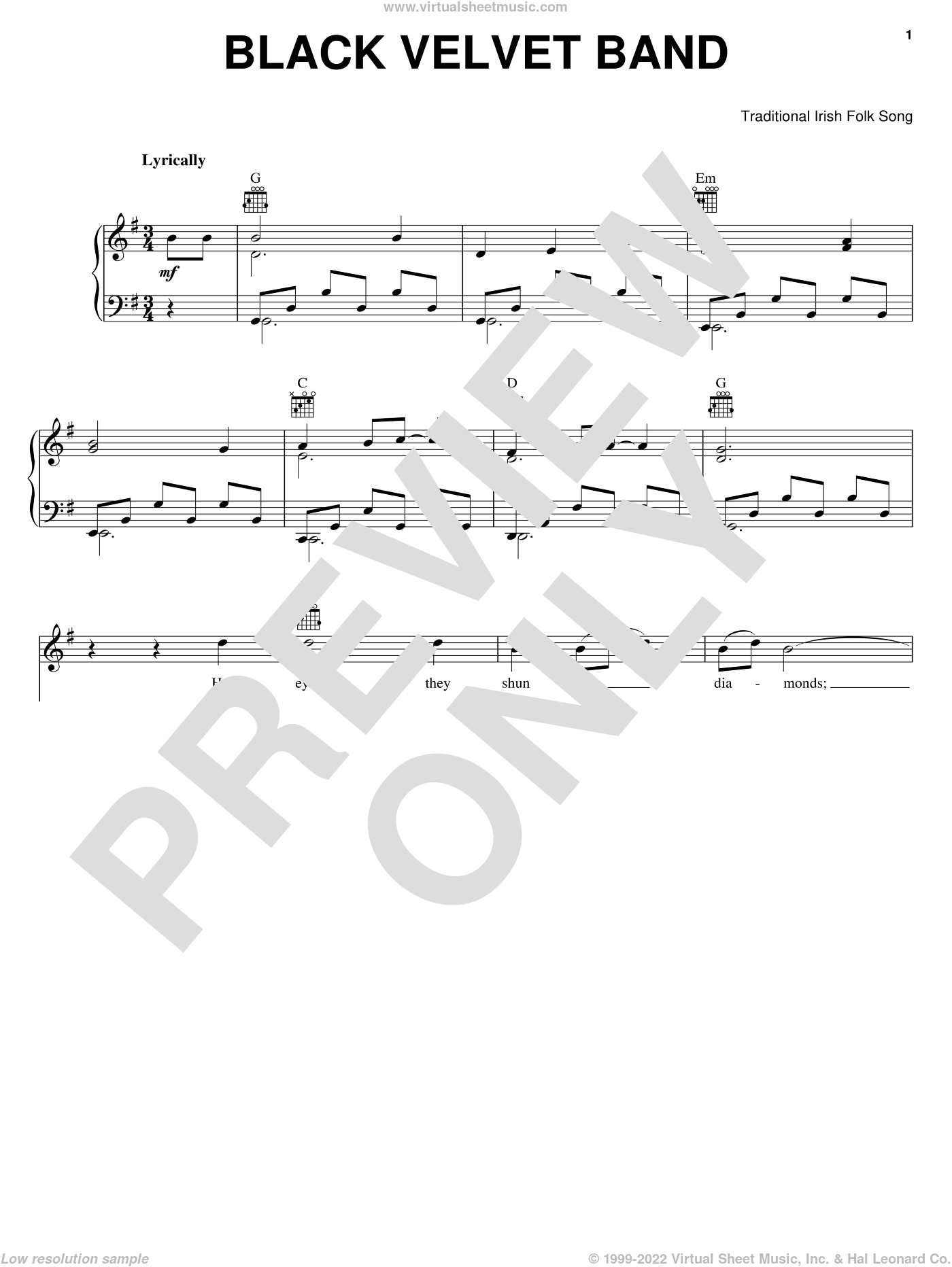 The Black Velvet Band sheet music for voice, piano or guitar, intermediate. Score Image Preview.