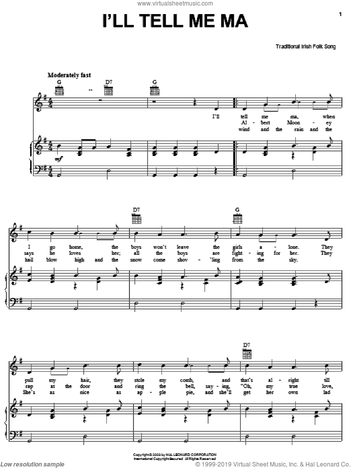 I'll Tell Me Ma sheet music for voice, piano or guitar. Score Image Preview.
