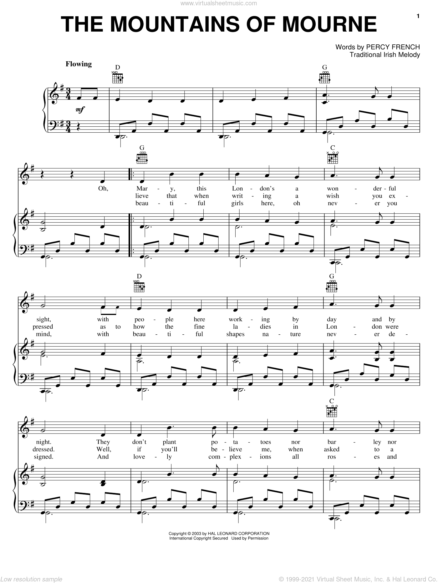 The Mountains Of Mourne sheet music for voice, piano or guitar by Percy French and Miscellaneous, intermediate skill level