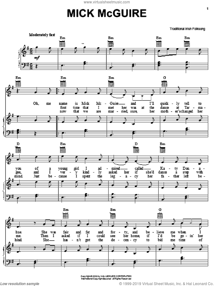 Mick McGuire sheet music for voice, piano or guitar. Score Image Preview.