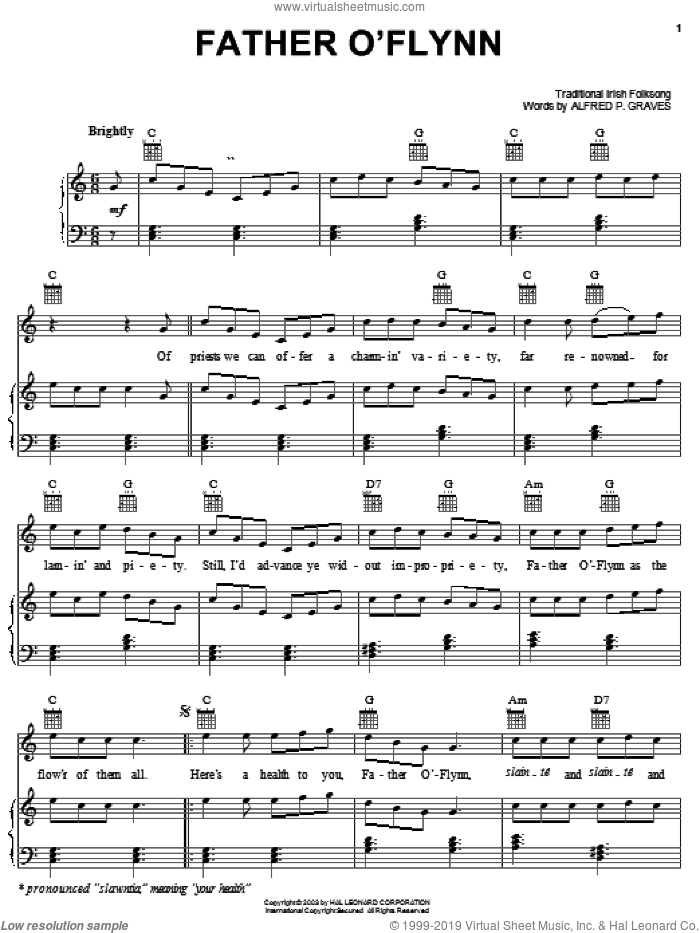 Father O'Flynn sheet music for voice, piano or guitar by Alfred P. Graves and Miscellaneous, intermediate skill level
