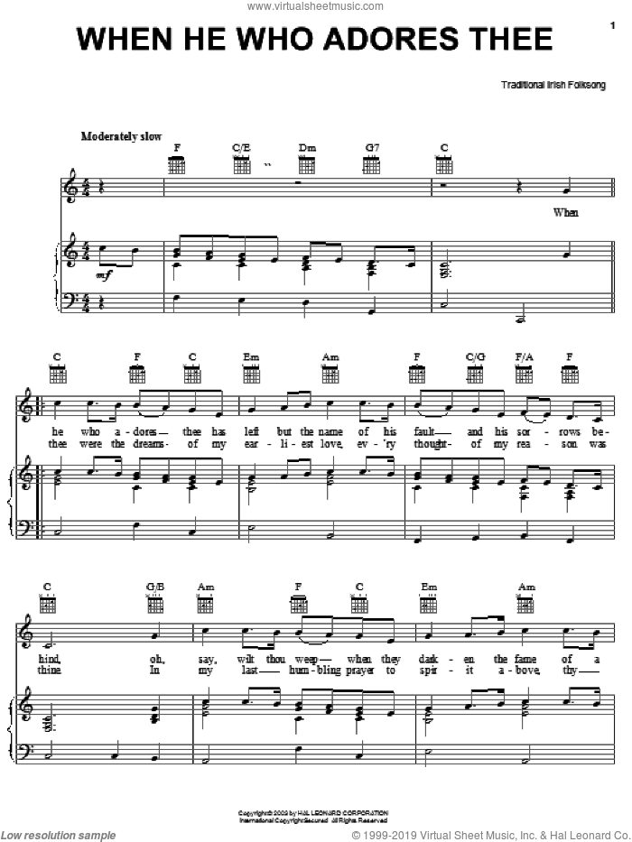 When He Who Adores Thee sheet music for voice, piano or guitar, intermediate voice, piano or guitar. Score Image Preview.