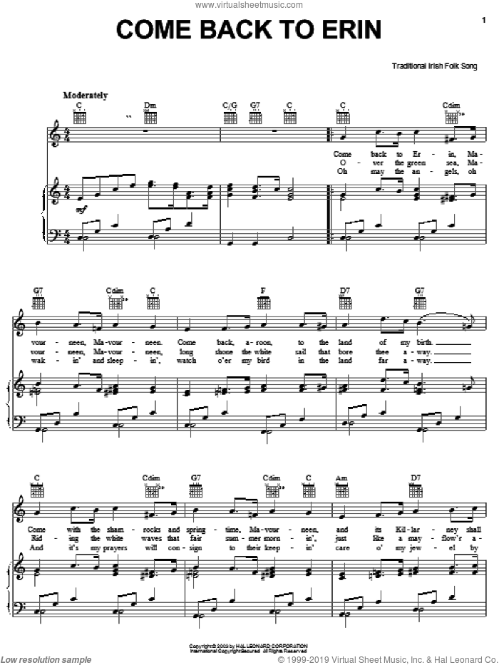 Come Back To Erin sheet music for voice, piano or guitar. Score Image Preview.