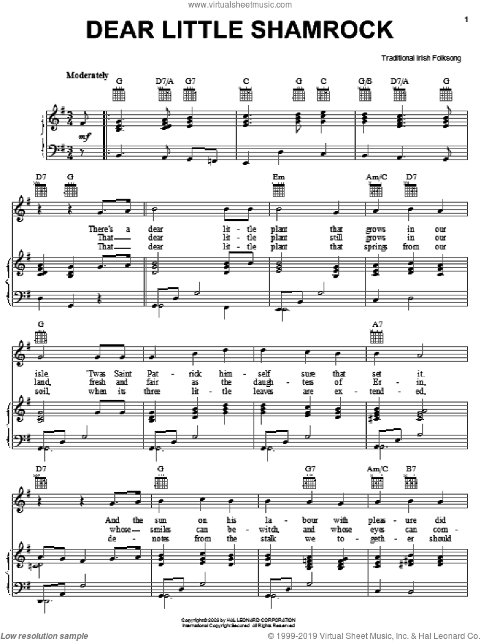 Dear Little Shamrock sheet music for voice, piano or guitar, intermediate skill level