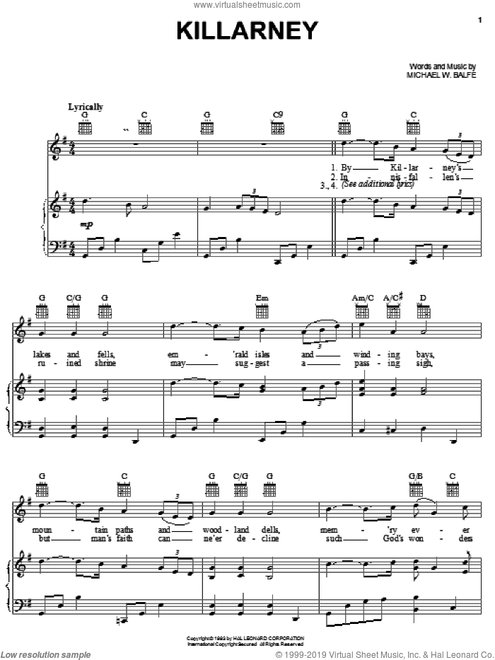Killarney sheet music for voice, piano or guitar by Michael W. Balfe, intermediate skill level