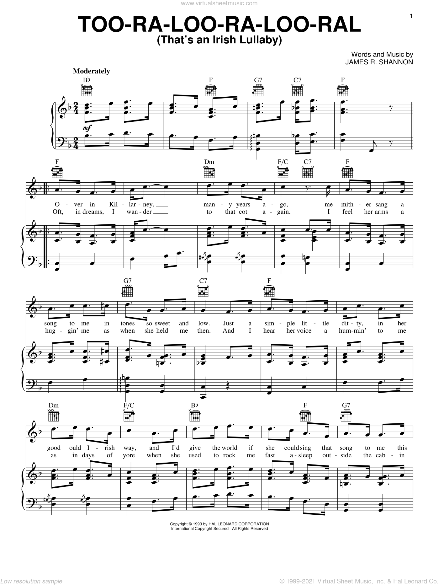 Too-Ra-Loo-Ra-Loo-Ral (That's An Irish Lullaby) sheet music for voice, piano or guitar by James R. Shannon. Score Image Preview.