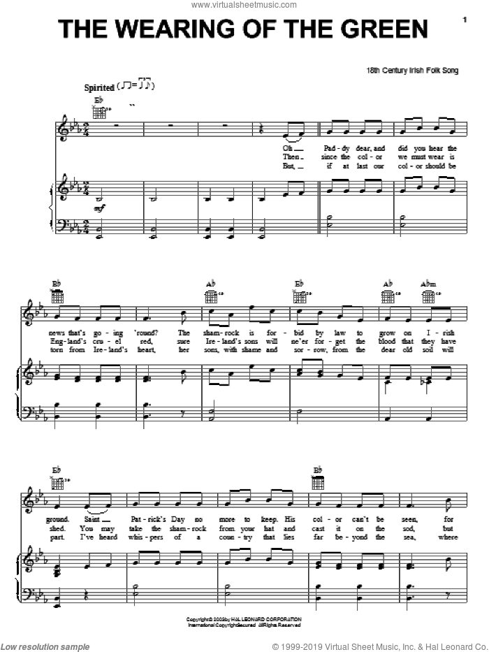 The Wearing Of The Green sheet music for voice, piano or guitar, intermediate skill level