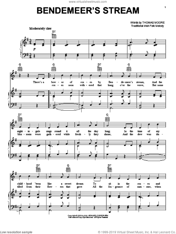 Bendemeer's Stream sheet music for voice, piano or guitar  and Thomas Moore. Score Image Preview.