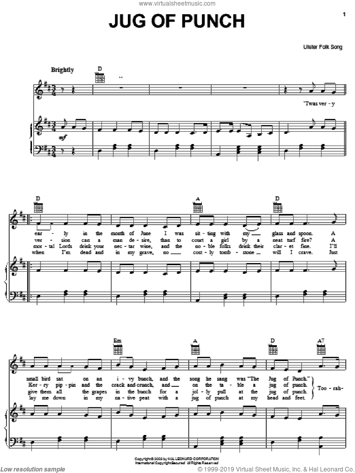 Jug Of Punch sheet music for voice, piano or guitar, intermediate. Score Image Preview.