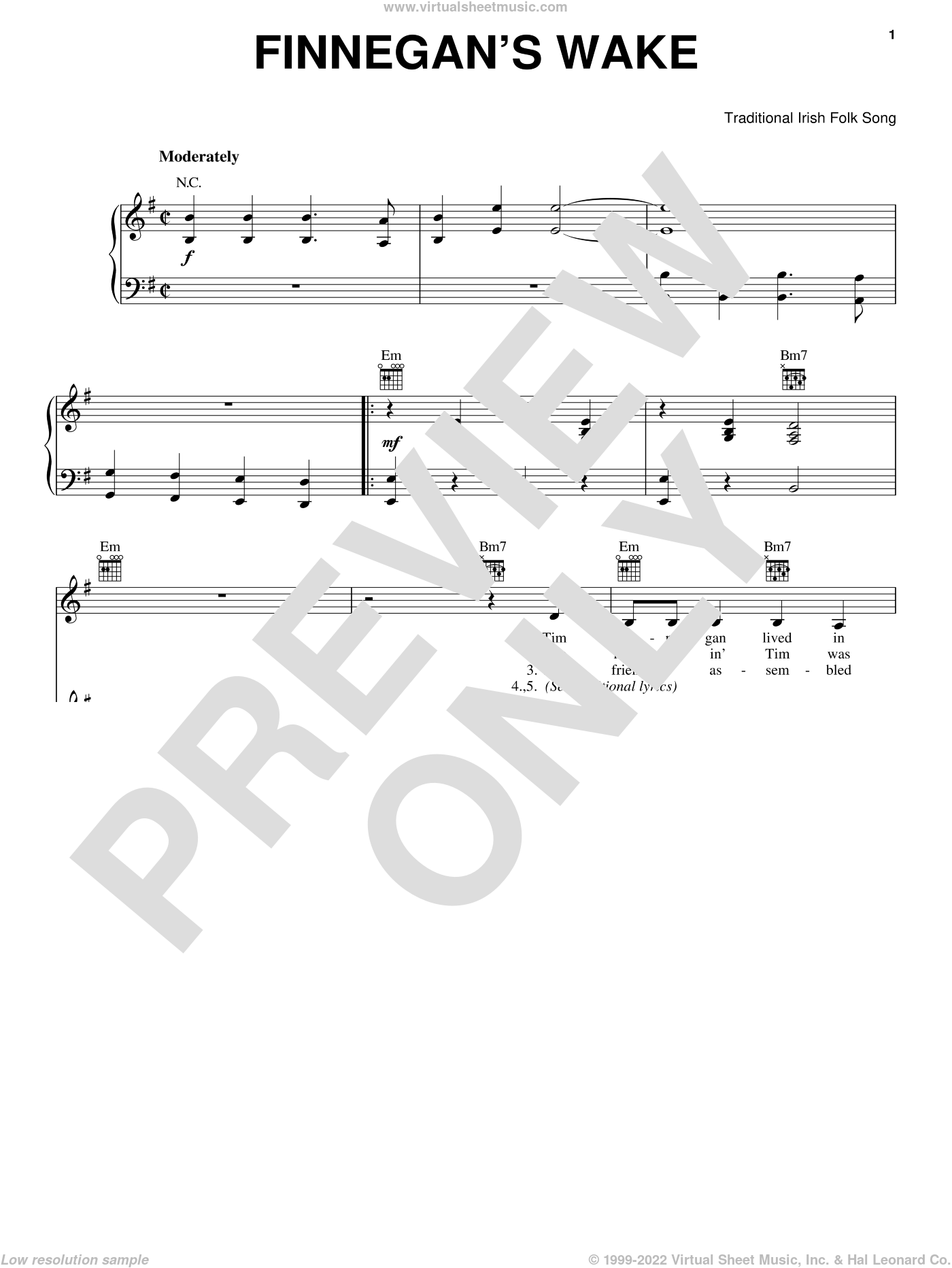 Finnegan's Wake sheet music for voice, piano or guitar, intermediate. Score Image Preview.
