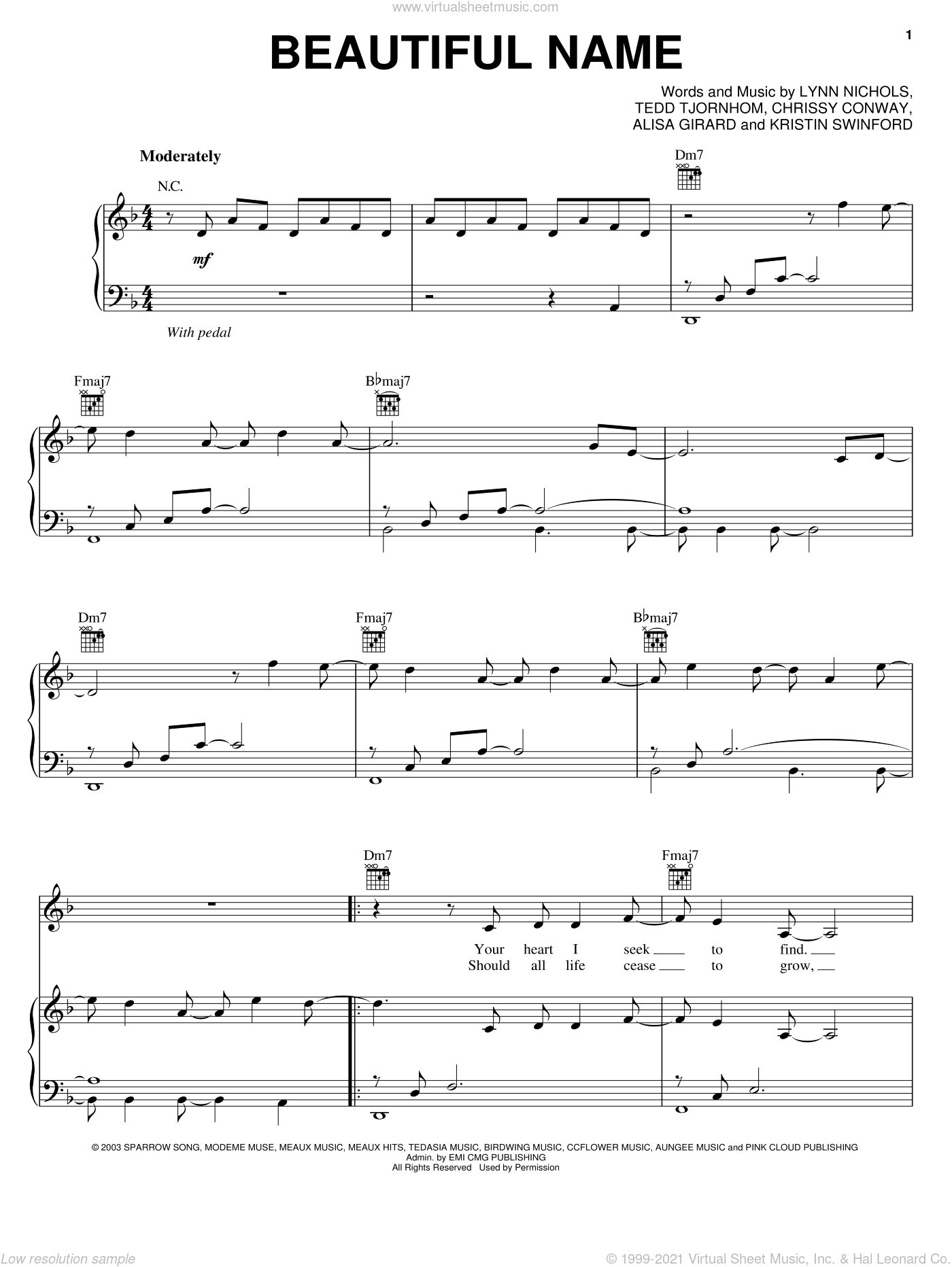 Beautiful Name sheet music for voice, piano or guitar by ZOEgirl and Chrissy Conway, intermediate. Score Image Preview.