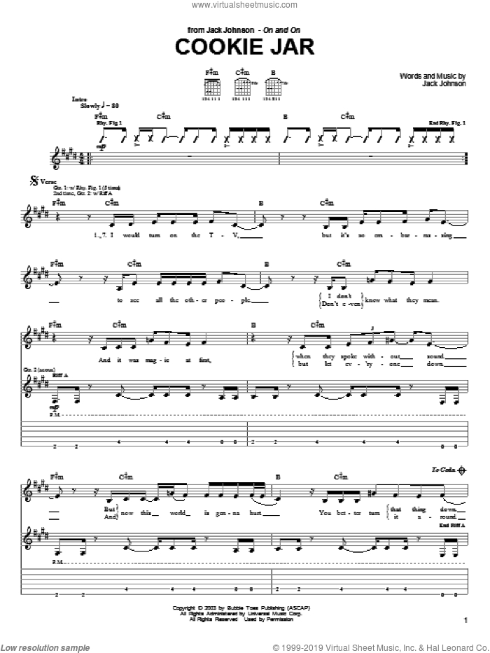 Cookie Jar sheet music for guitar (tablature) by Jack Johnson. Score Image Preview.