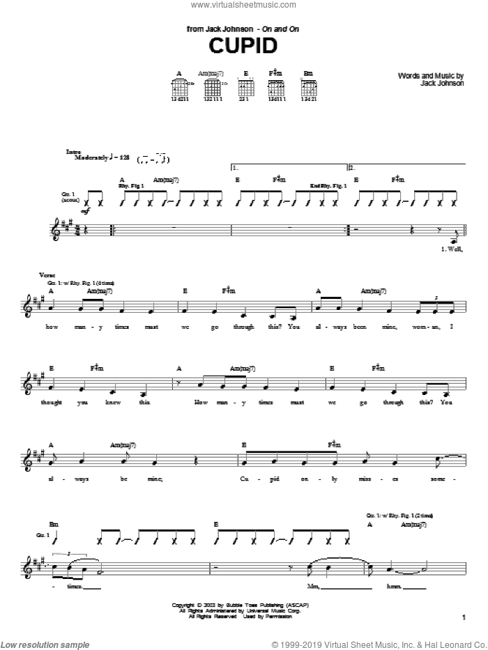 Cupid sheet music for guitar (tablature) by Jack Johnson. Score Image Preview.
