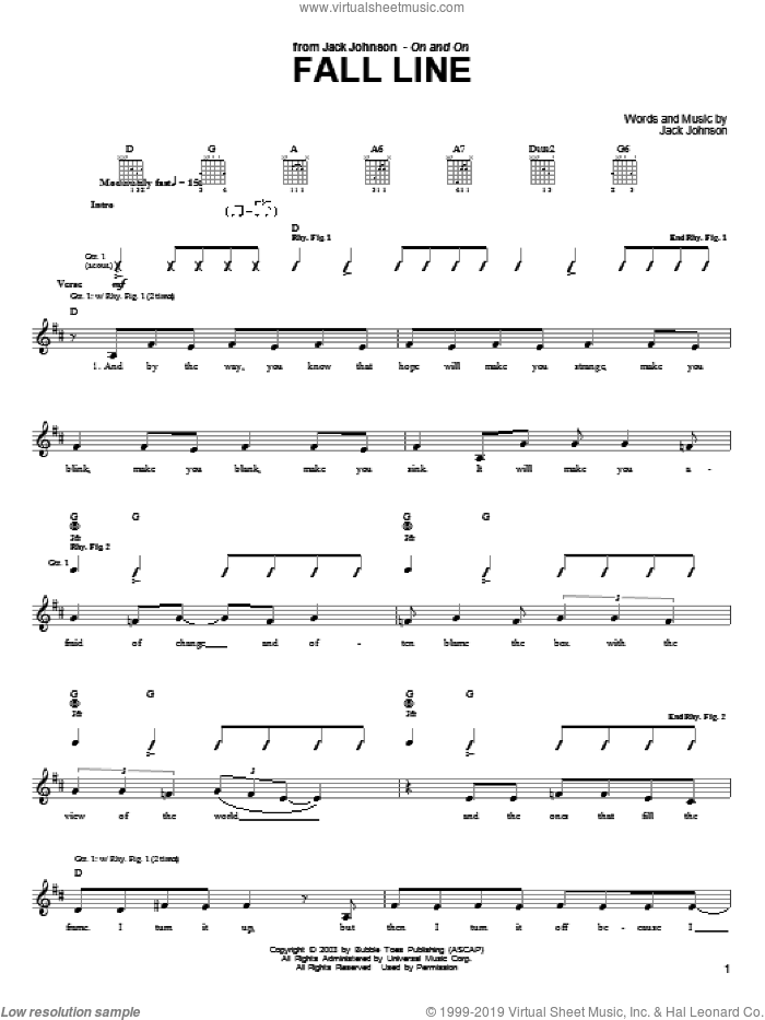 Fall Line sheet music for guitar (tablature) by Jack Johnson, intermediate skill level
