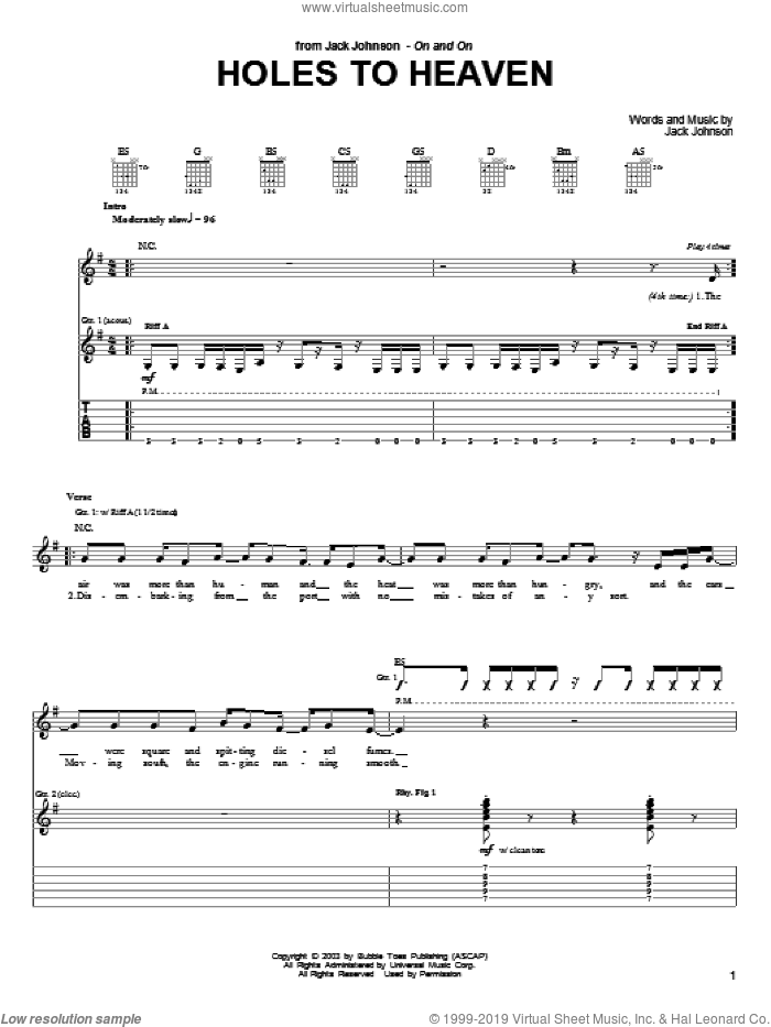 Holes To Heaven sheet music for guitar (tablature) by Jack Johnson. Score Image Preview.