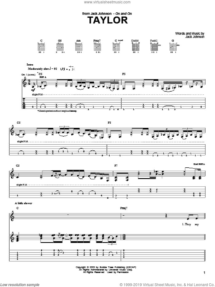 Taylor sheet music for guitar (tablature) by Jack Johnson, intermediate skill level