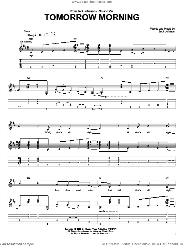 Tomorrow Morning sheet music for guitar (tablature) by Jack Johnson, intermediate. Score Image Preview.