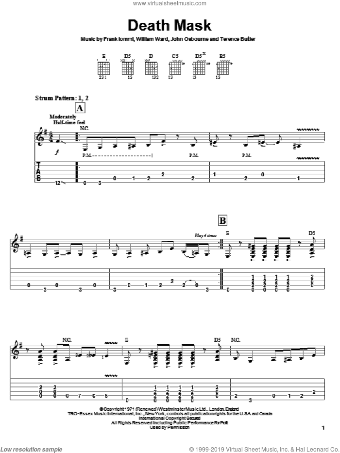 Death Mask sheet music for guitar solo (easy tablature) by Black Sabbath, Frank Iommi, John Osbourne and William Ward, easy guitar (easy tablature)