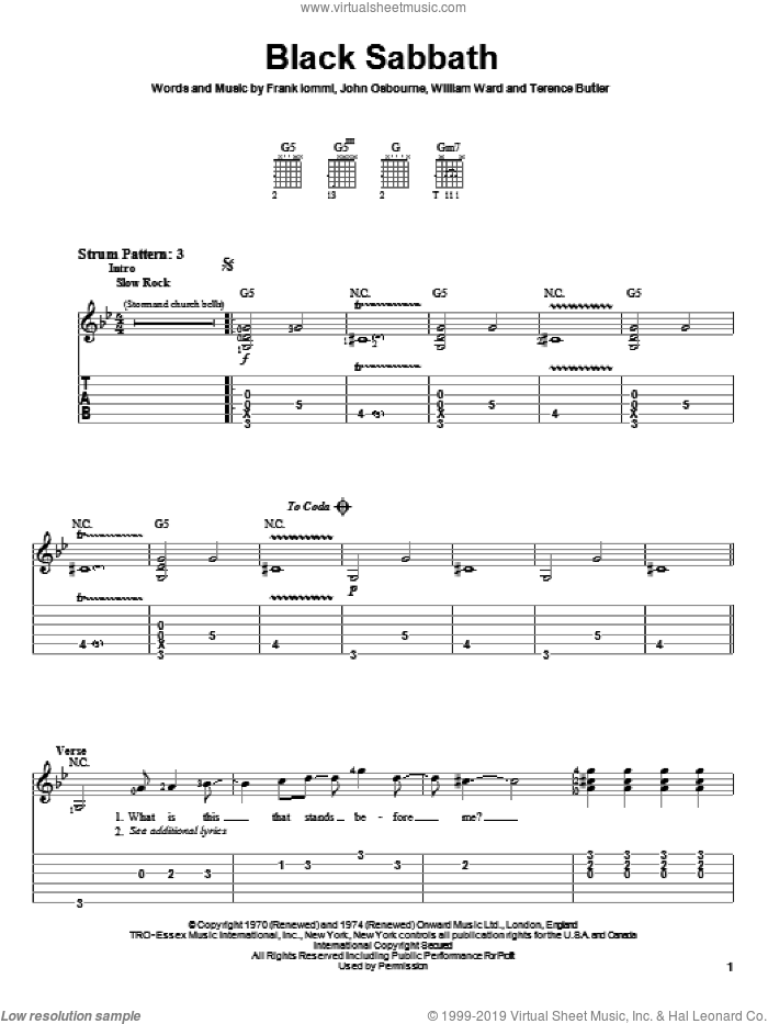 Black Sabbath sheet music for guitar solo (easy tablature) by Black Sabbath and Ozzy Osbourne, easy guitar (easy tablature)