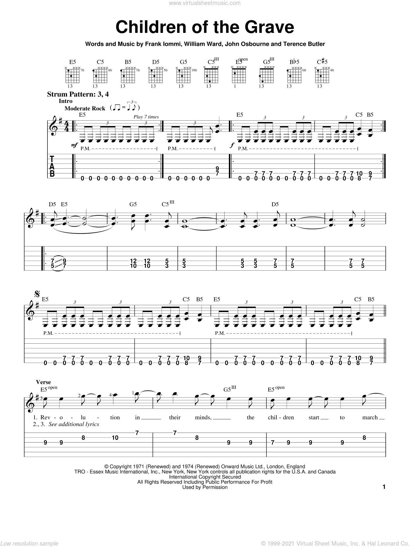 Children Of The Grave sheet music for guitar solo (easy tablature) by Black Sabbath, Ozzy Osbourne, White Zombie, Frank Iommi, John Osbourne and William Ward, easy guitar (easy tablature)