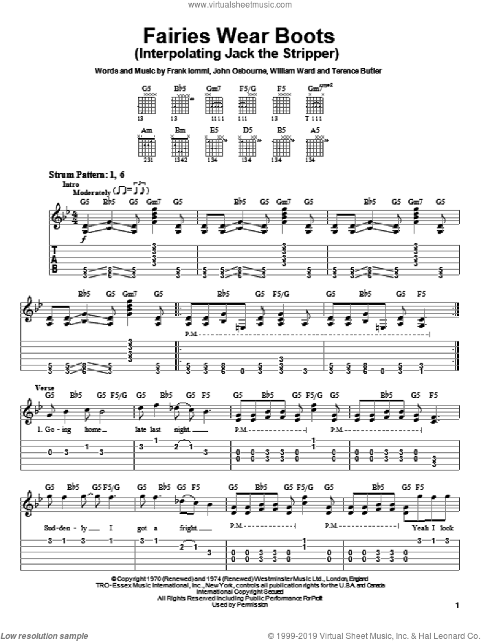 Fairies Wear Boots (Interpolating Jack The Stripper) sheet music for guitar solo (easy tablature) by Black Sabbath, Ozzy Osbourne, Frank Iommi, John Osbourne and William Ward, easy guitar (easy tablature)