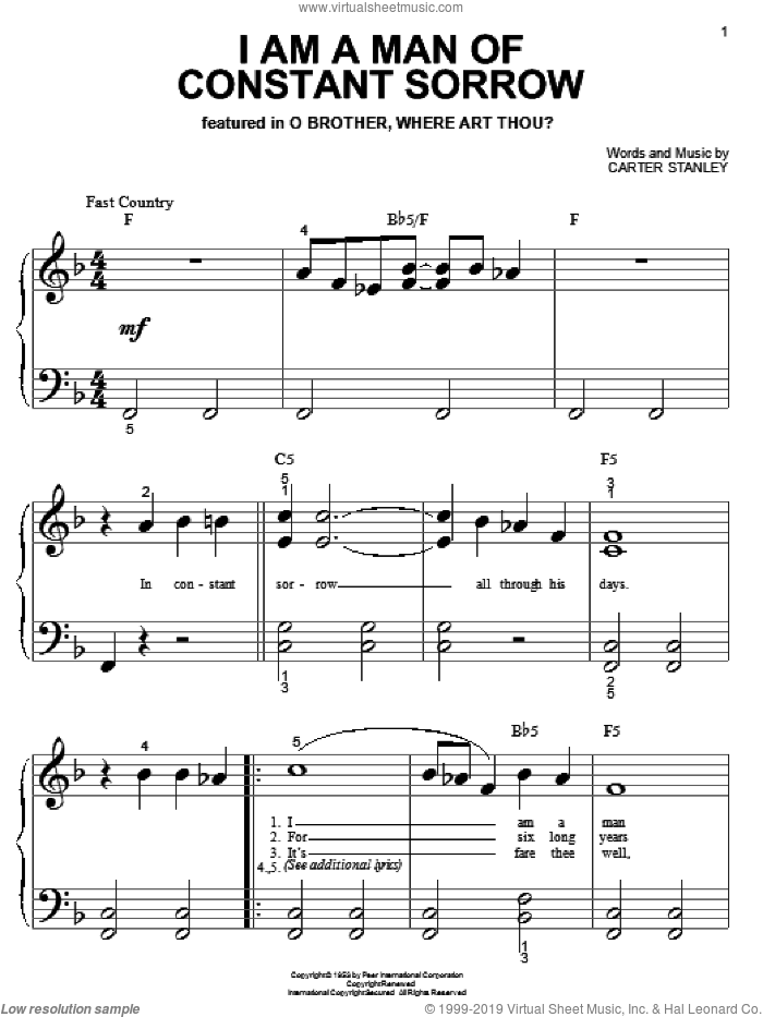 I Am A Man Of Constant Sorrow sheet music for piano solo (big note book) by Carter Stanley and The Soggy Bottom Boys. Score Image Preview.