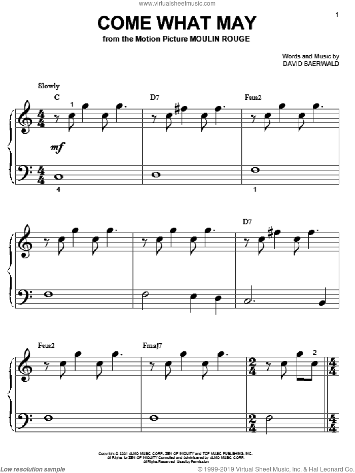 Come What May sheet music for piano solo (big note book) by David Baerwald