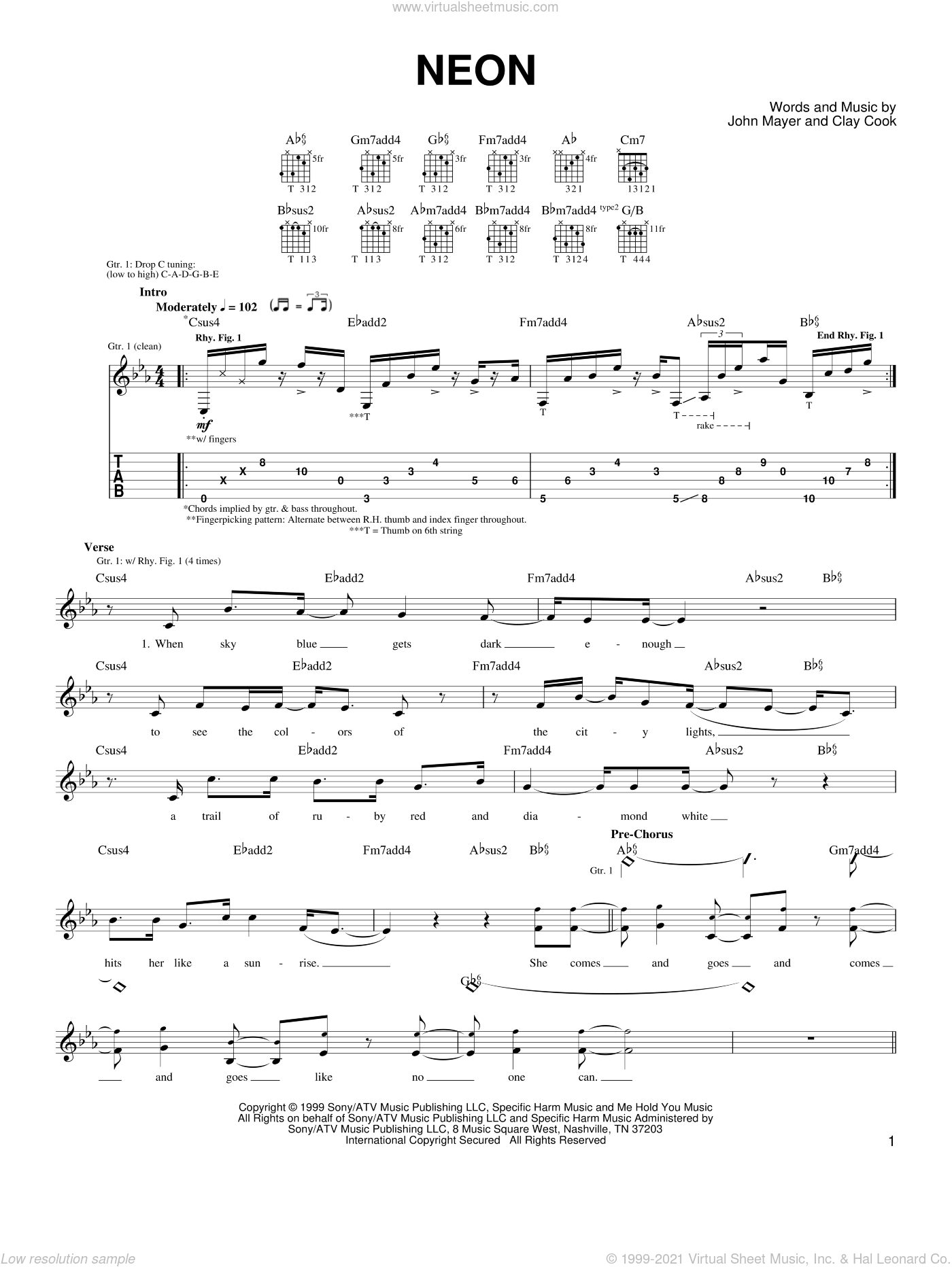 Mayer - Neon sheet music for guitar solo (chords) [PDF]