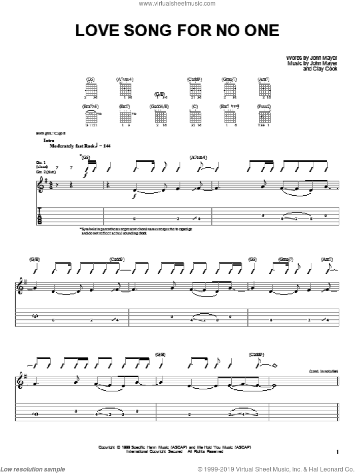 Love Song For No One sheet music for guitar solo (chords) by John Mayer and Clay Cook, easy guitar (chords)
