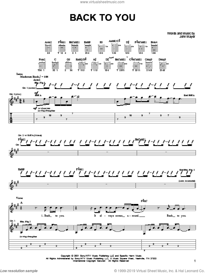 Back To You sheet music for guitar solo (chords) by John Mayer. Score Image Preview.