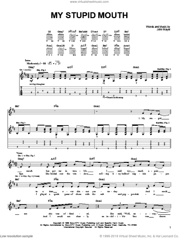 Mayer - My Stupid Mouth sheet music for guitar solo (chords)