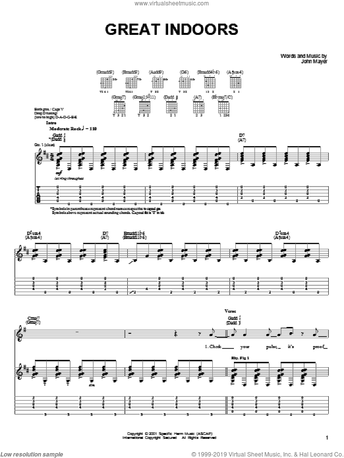 Great Indoors sheet music for guitar solo (chords) by John Mayer. Score Image Preview.