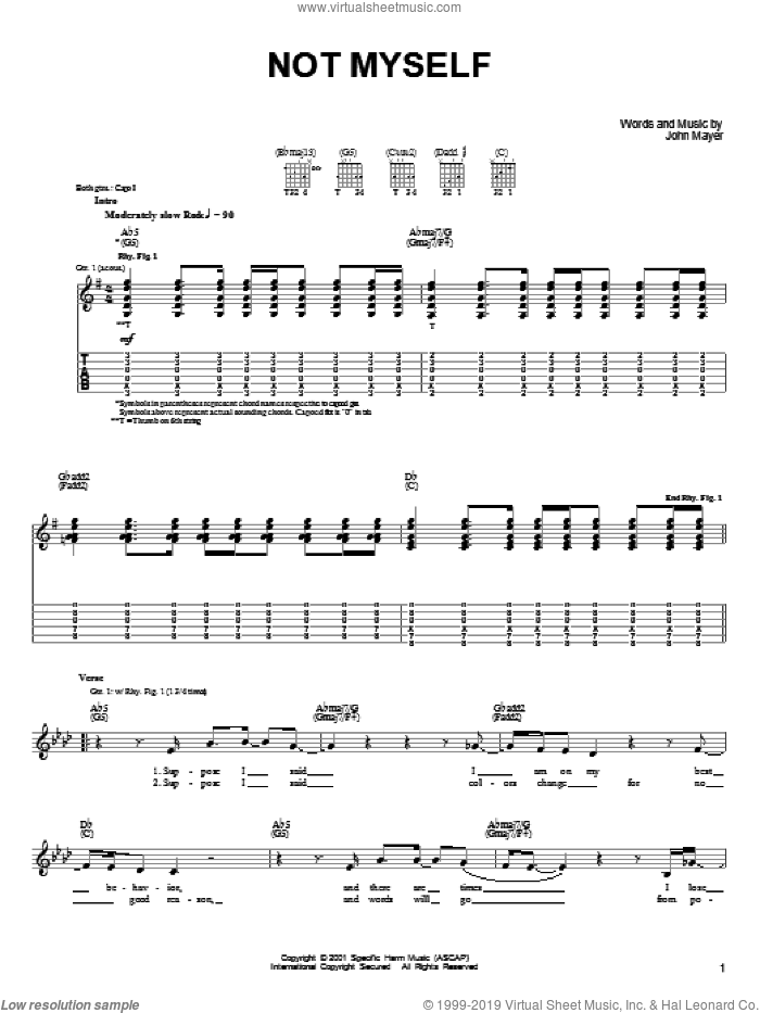 Not Myself sheet music for guitar solo (chords) by John Mayer. Score Image Preview.