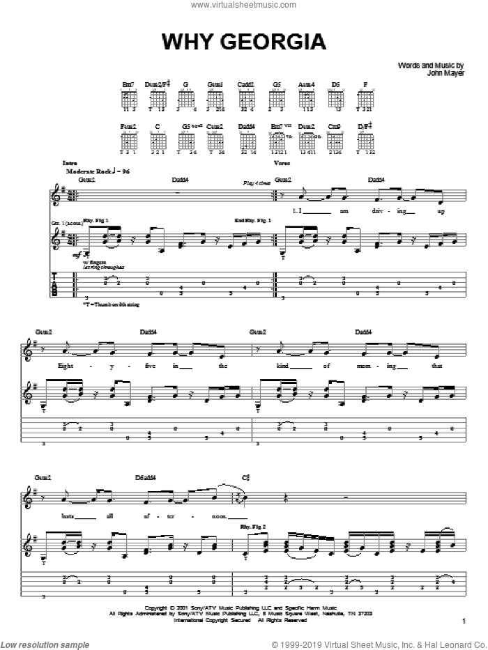 Mayer - Why Georgia sheet music for guitar solo (chords) [PDF]