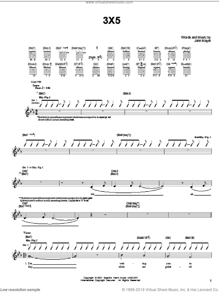 3X5 sheet music for guitar solo (chords) by John Mayer. Score Image Preview.