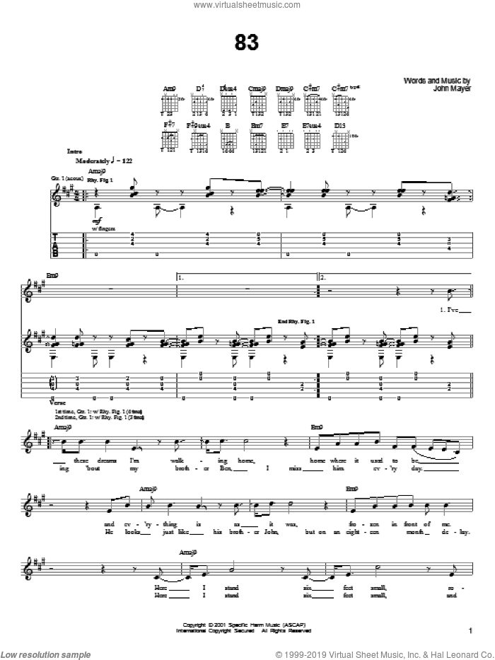 83 sheet music for guitar solo (chords) by John Mayer, easy guitar (chords). Score Image Preview.