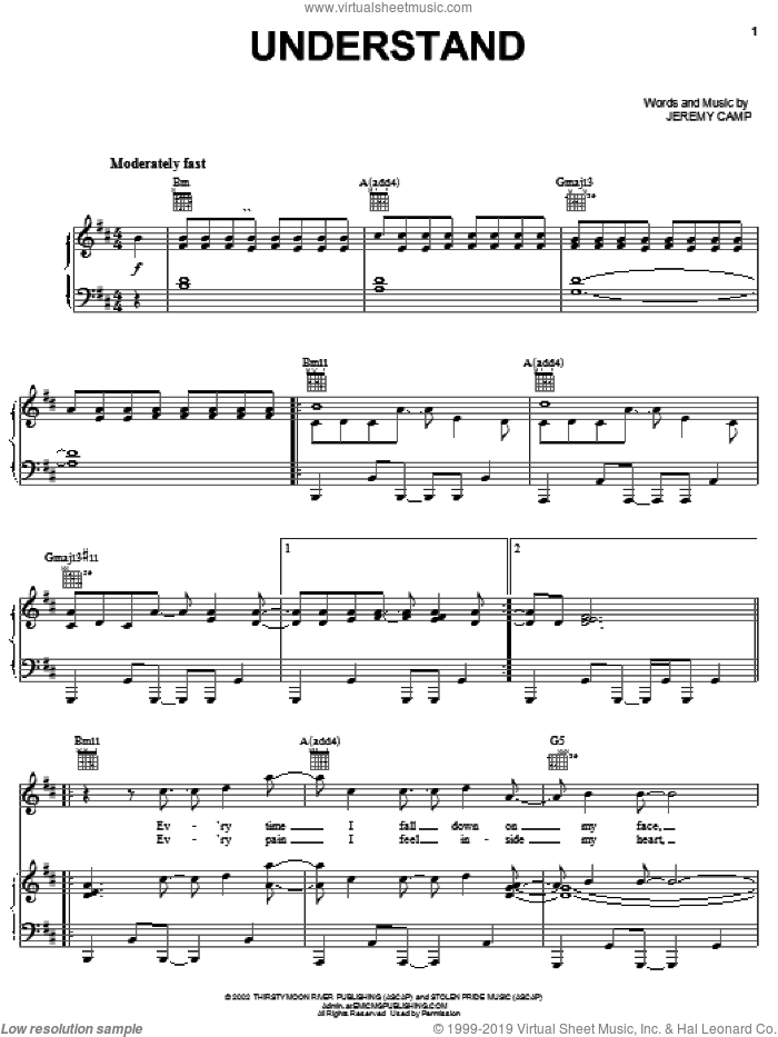 Understand sheet music for voice, piano or guitar by Jeremy Camp, intermediate skill level
