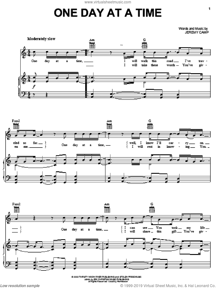 One Day At A Time sheet music for voice, piano or guitar by Jeremy Camp. Score Image Preview.