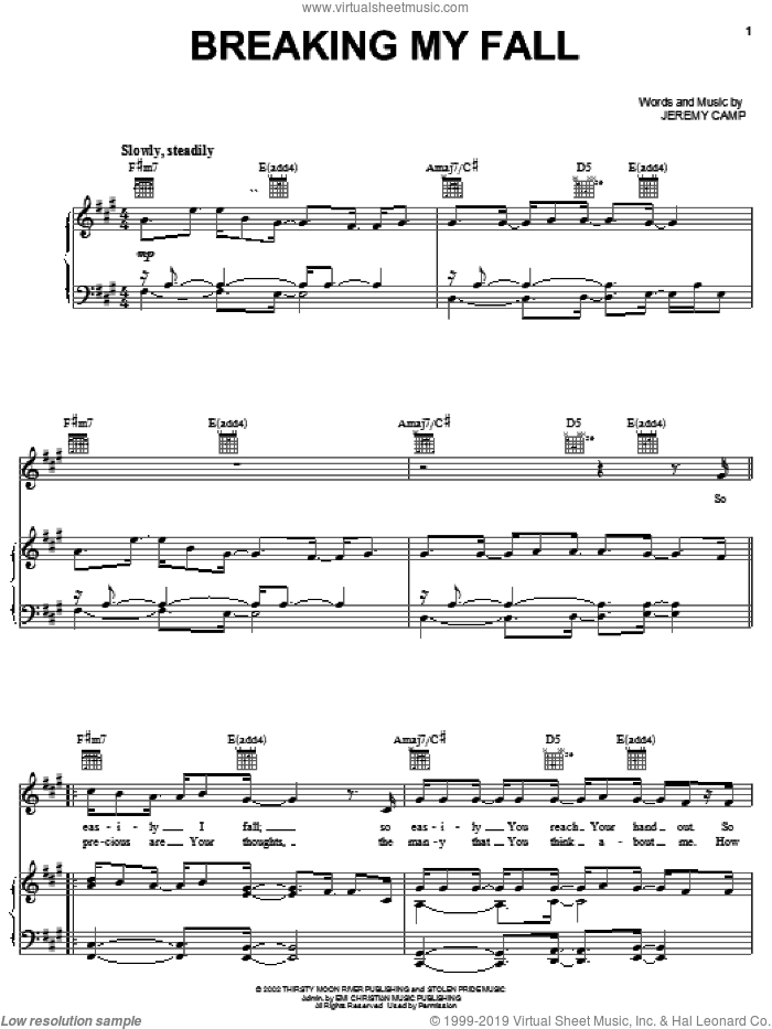Breaking My Fall sheet music for voice, piano or guitar by Jeremy Camp, intermediate skill level